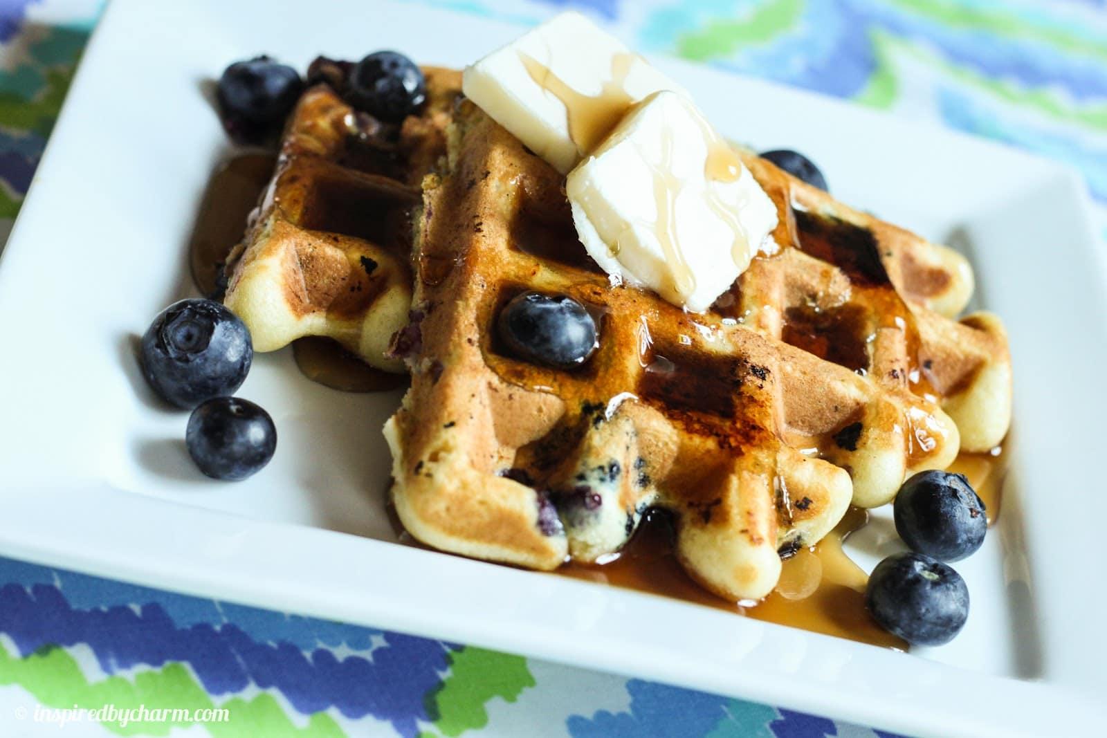 White Chocolate Blueberry Waffles