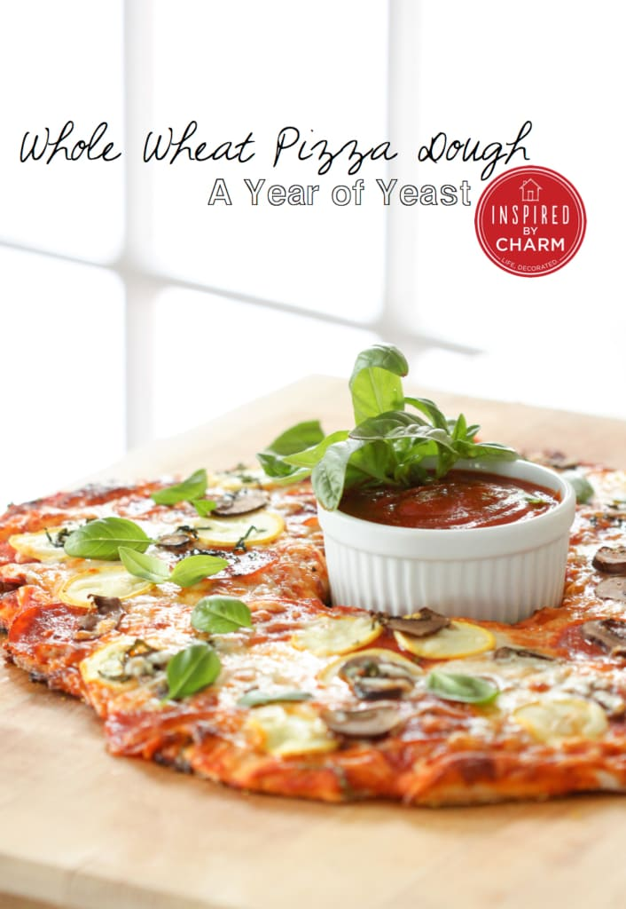 Whole Wheat Pizza Dough via Inspired by Charm #ayearofyeast