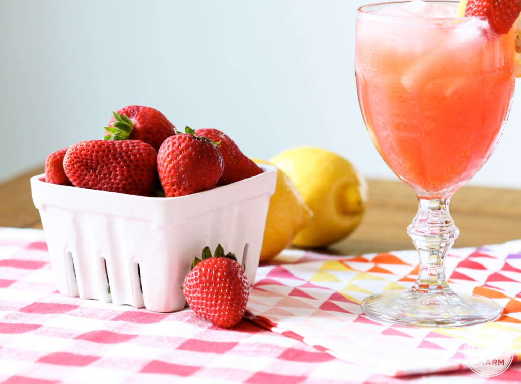 Spiked Strawberry Lemonade with Inspired by Charm #DrinkandLinks