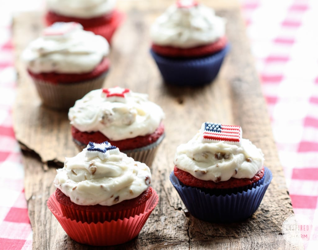 Red Velvet Cupcakes with Pecan Cream Cheese Frosting   Inspired by Charm