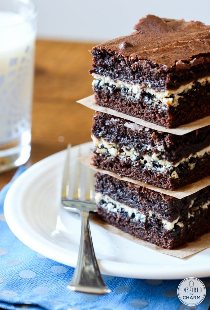 Cookies and Cream Filled Brownies - Inspired by Charm