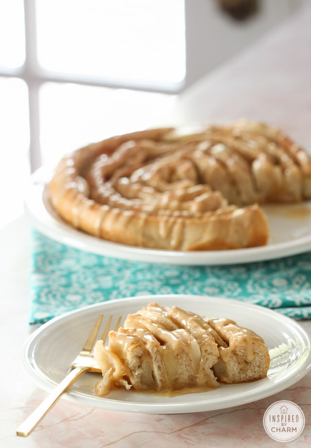 IMG_2742-2Spiral Apple Bread with Caramel Apple Glaze | Inspired by Charm