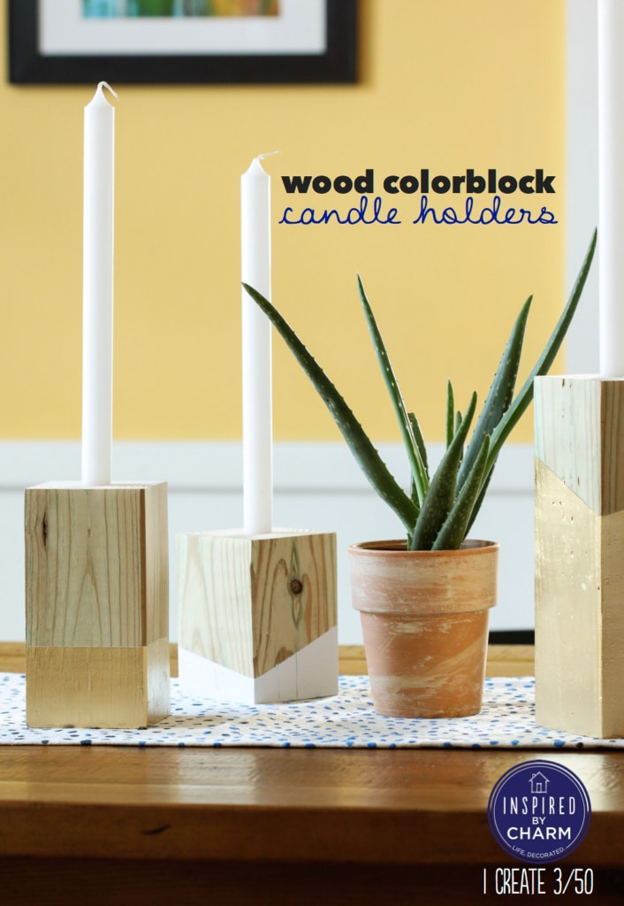 Wood Colorblock Candle Holders | Inspired by Charm