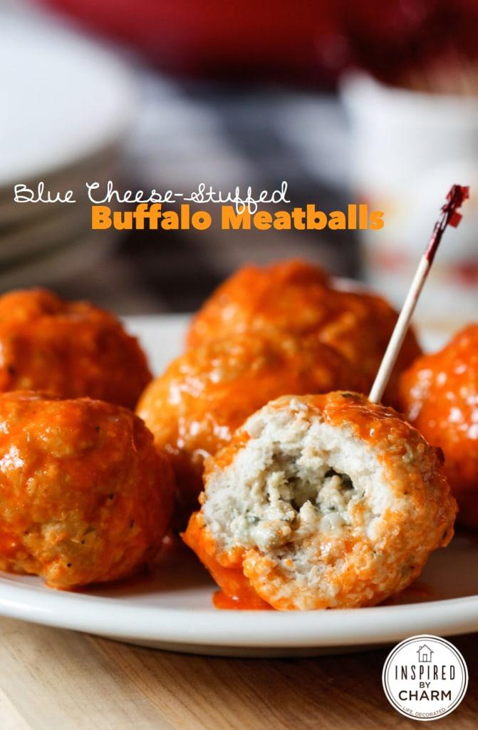 Buffalo and Blue Cheese-Stuffed Crockpot Meatballs recipe