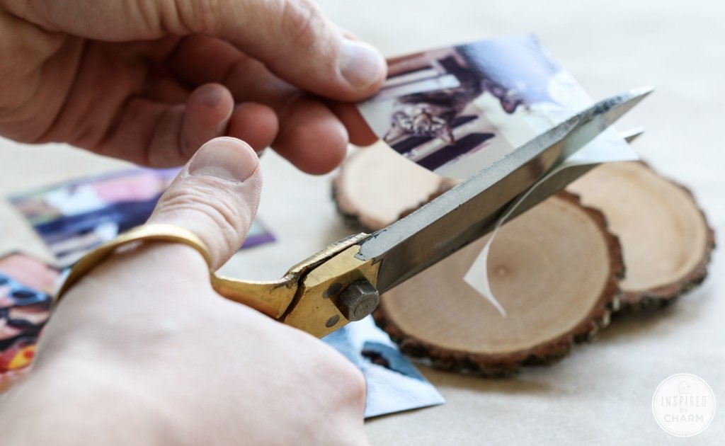 DIY Wood Slice Photo Ornaments | Inspired by Charm