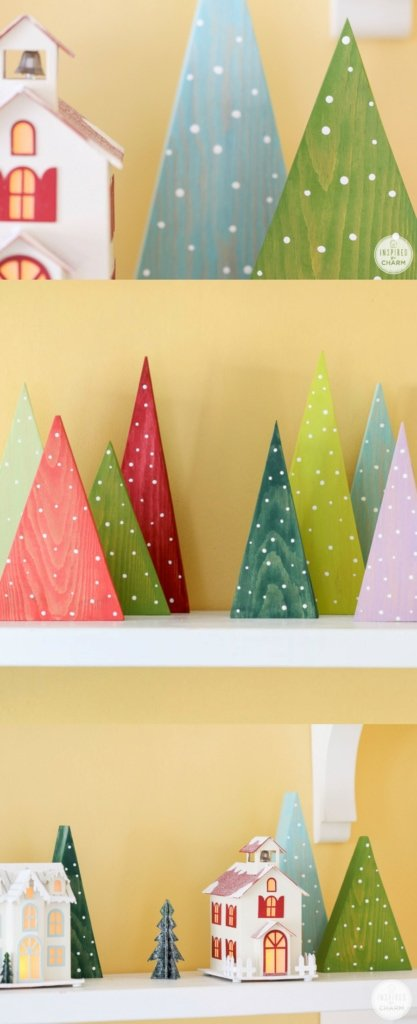 DIY Colorful Wood Christmas Tree Decorations