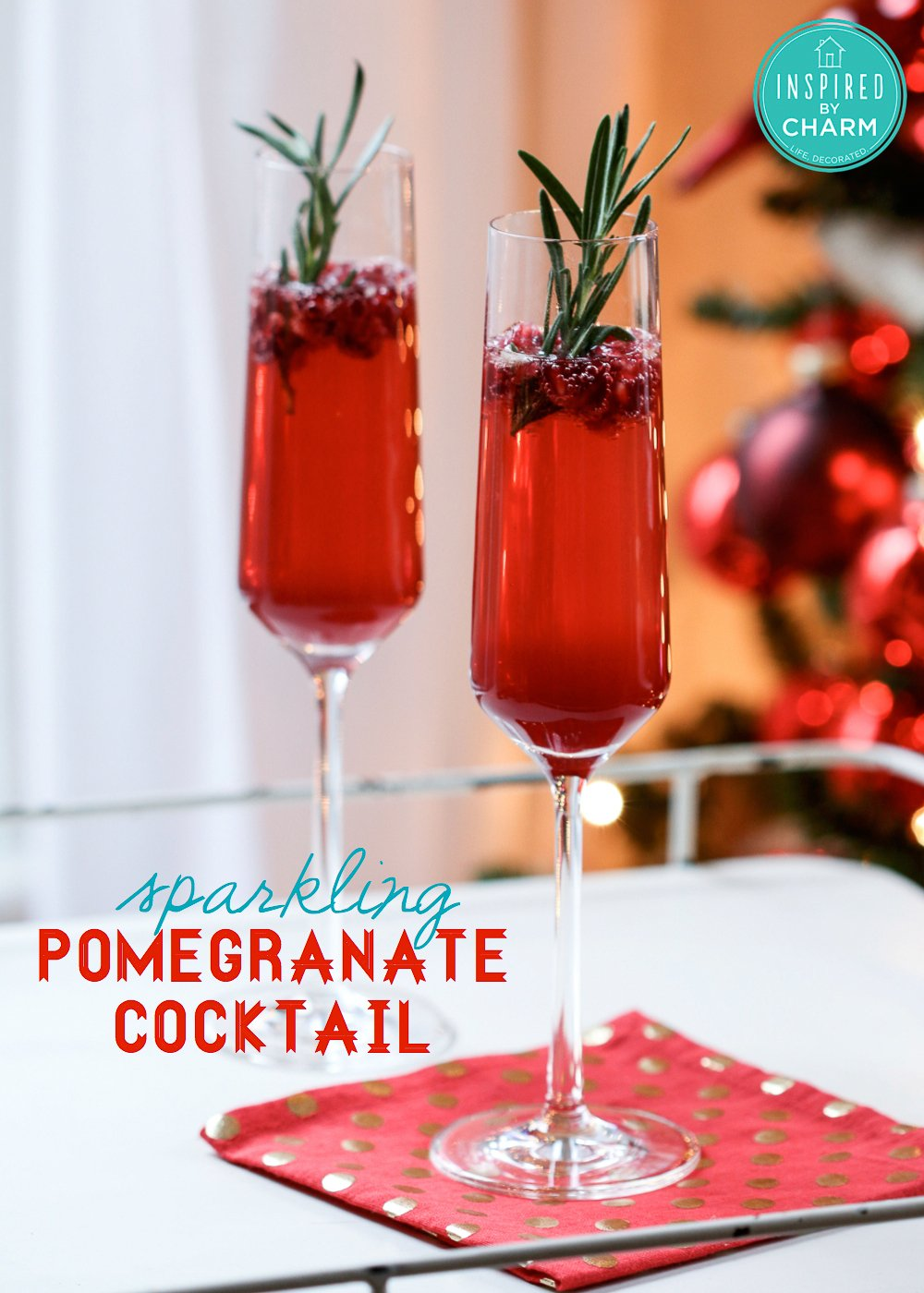 ... few ingredients, I came up with this Sparkling Pomegranate Cocktail