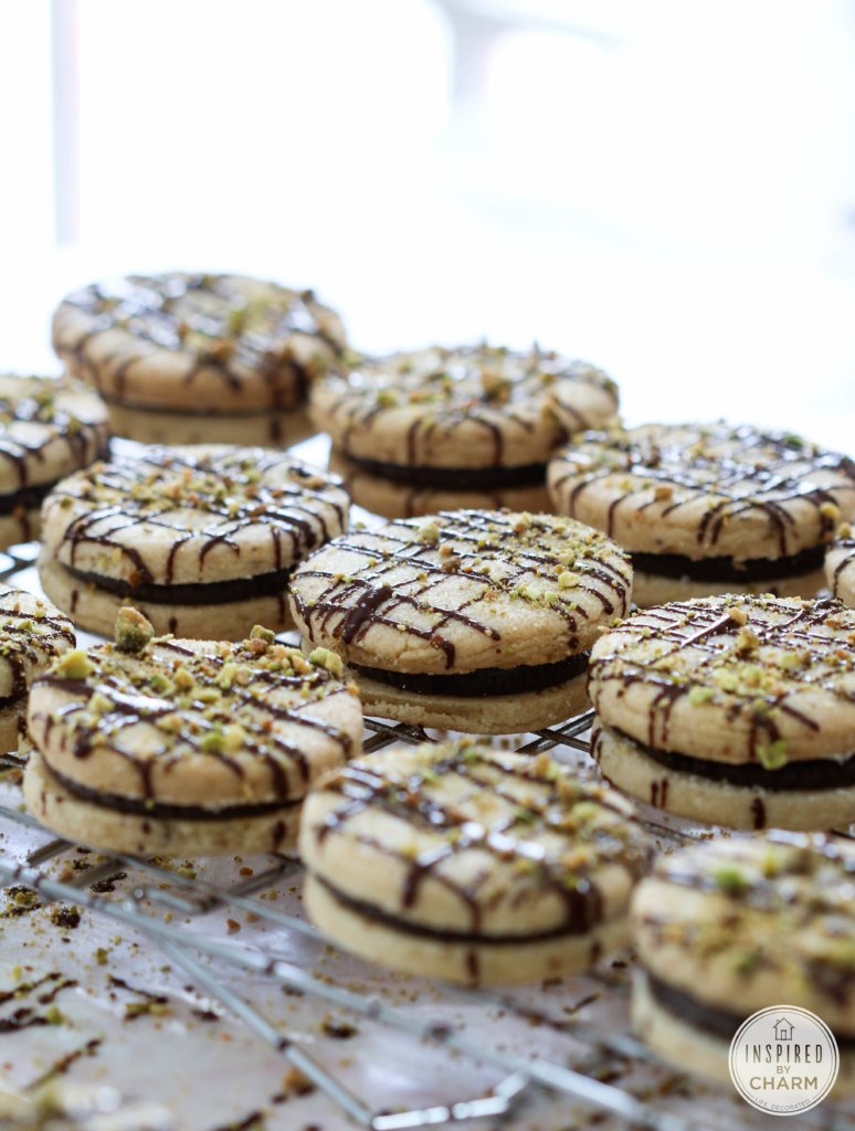 Pistachio Shortbread Cookies with Dark Chocolate Filling | Inspired by ...