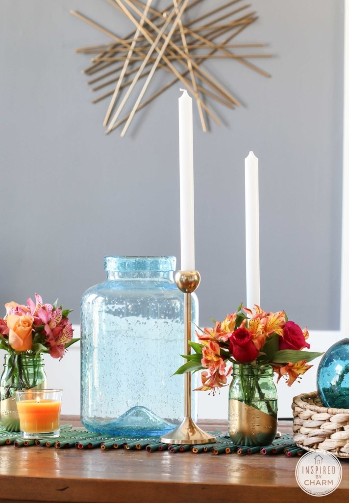 Gold-Dipped Mason Jars | Inspired by Charm