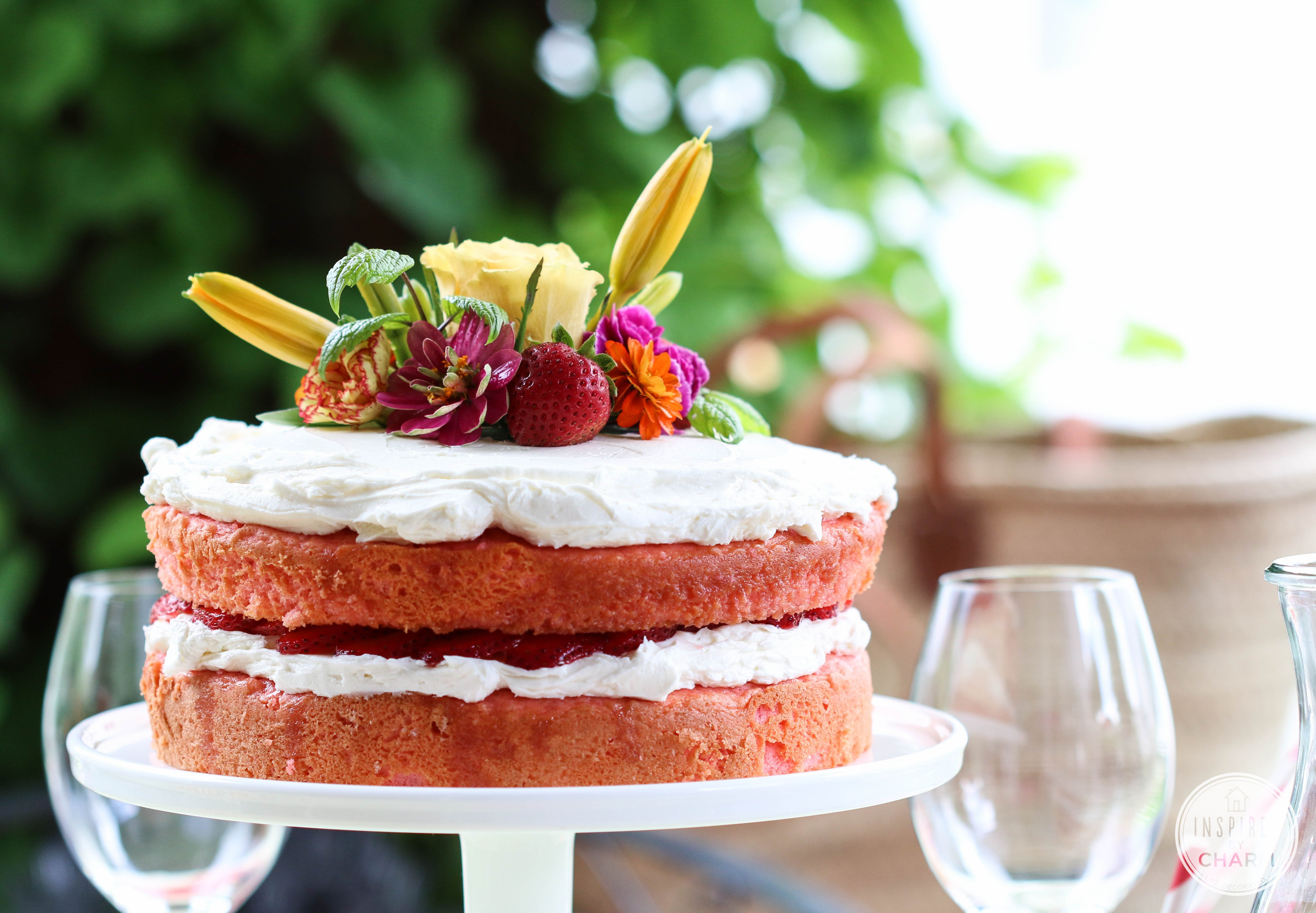 Strawberry Rhubarb Cake | Inspired by Charm