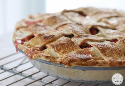 Strawberry Rhubarb Pie | Inspired by Charm #ayearofpie