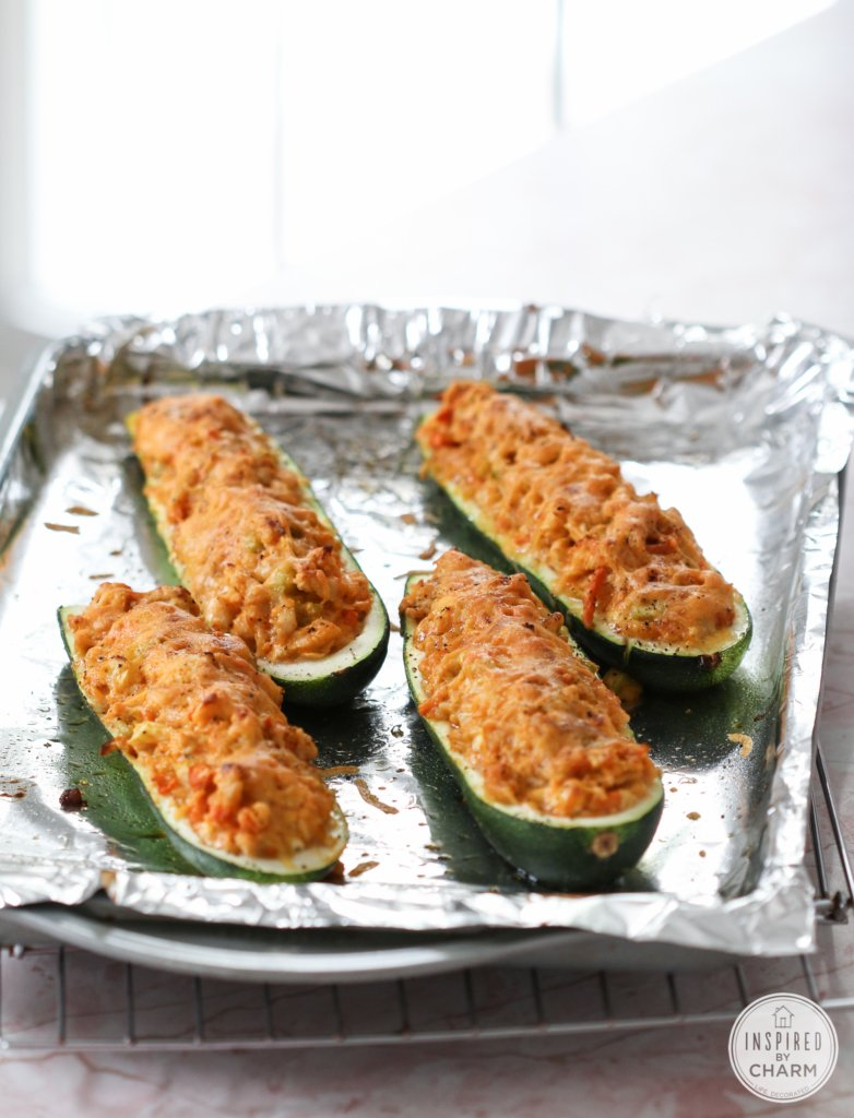 Buffalo Chicken Zucchini Boats | Inspired by Charm