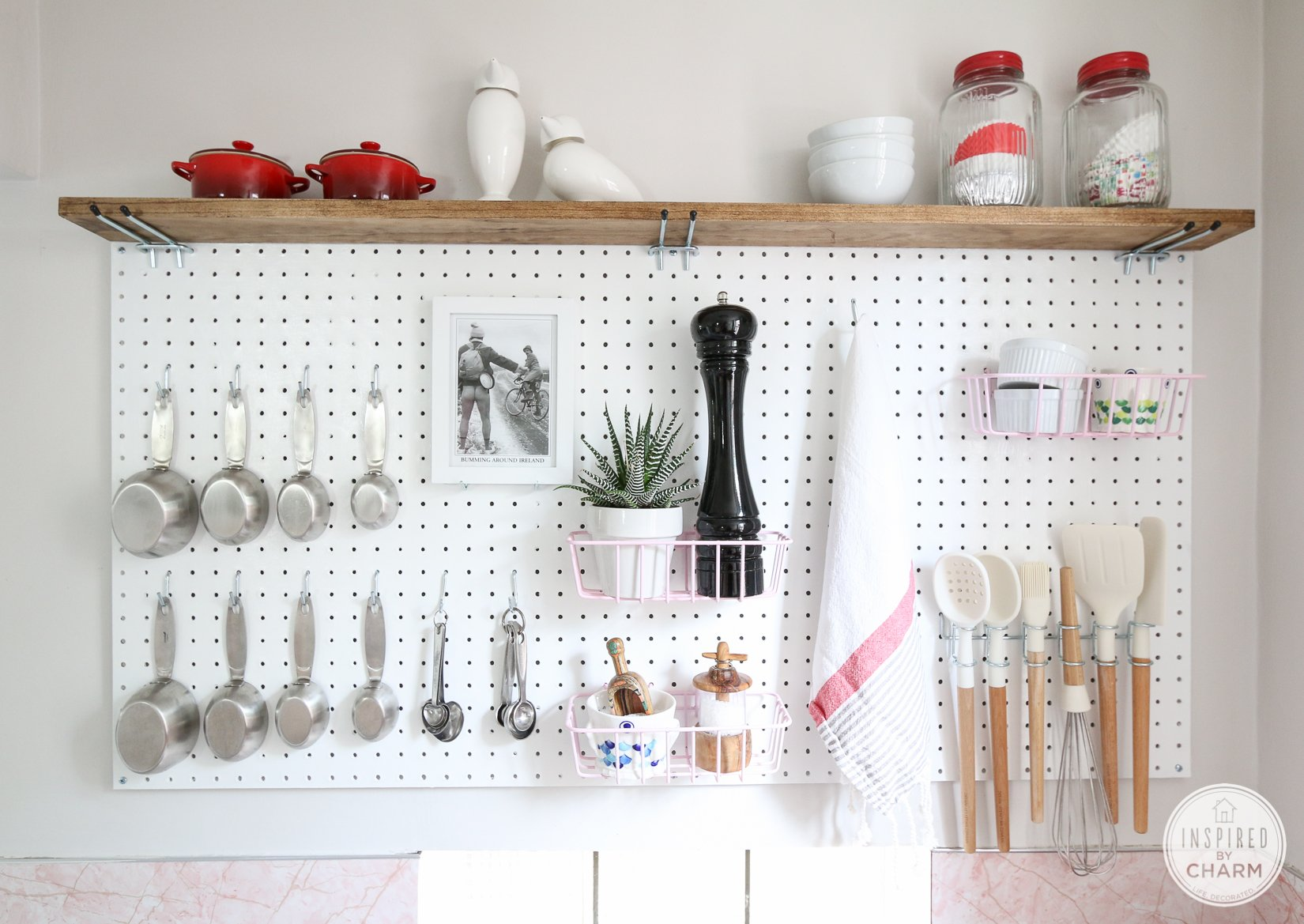 pegboard kitchen storage inspired by charm