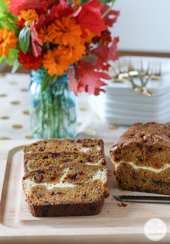 Cinnamon Chip Pumpkin Bread with Cream Cheese | Inspired by Charm