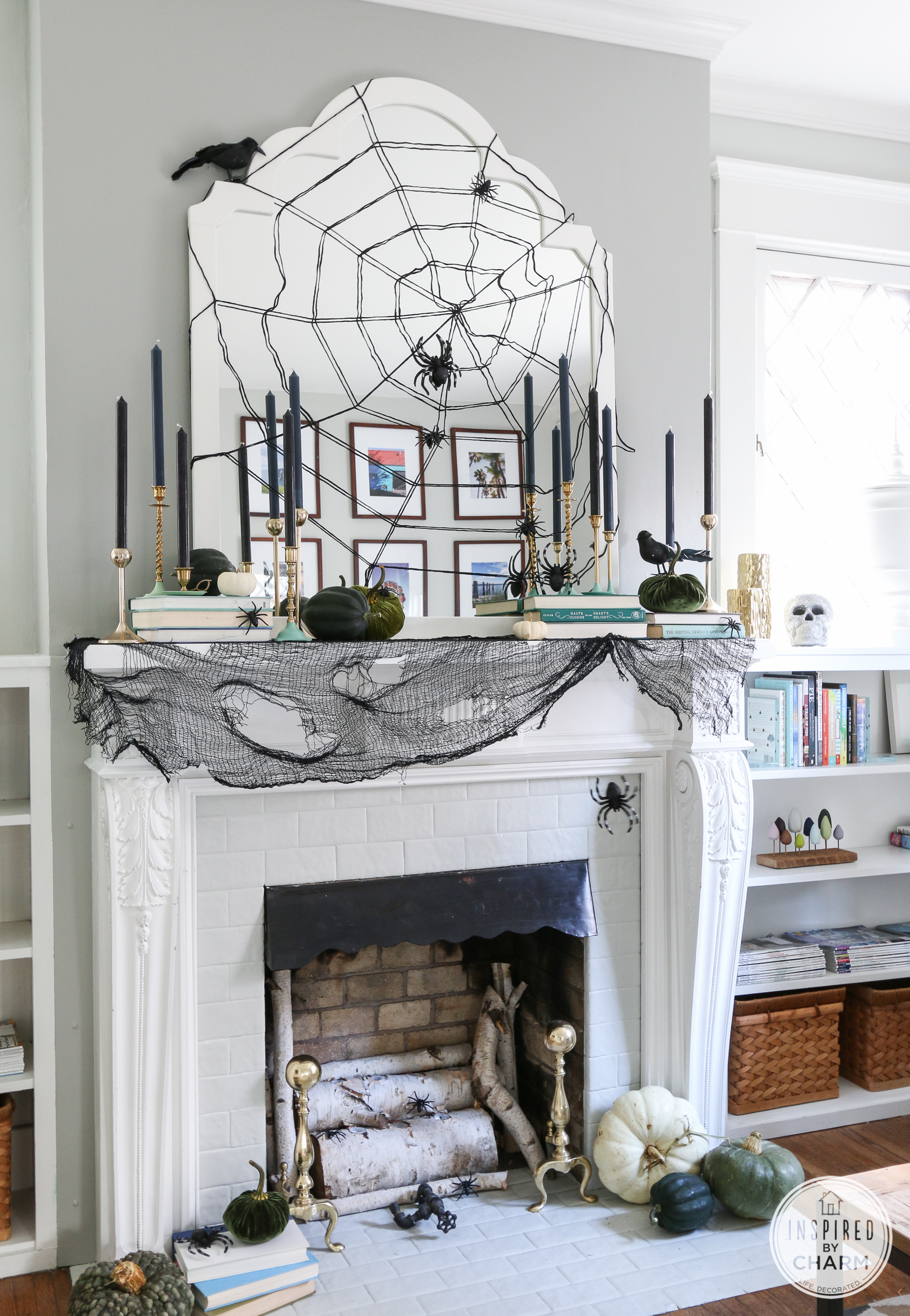 stylish halloween mantel inspired by charm - Halloween Mantel Decor