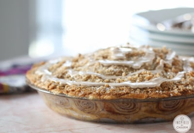 Cinnamon Roll Apple Pie | Inspired by Charm #ayearofpie
