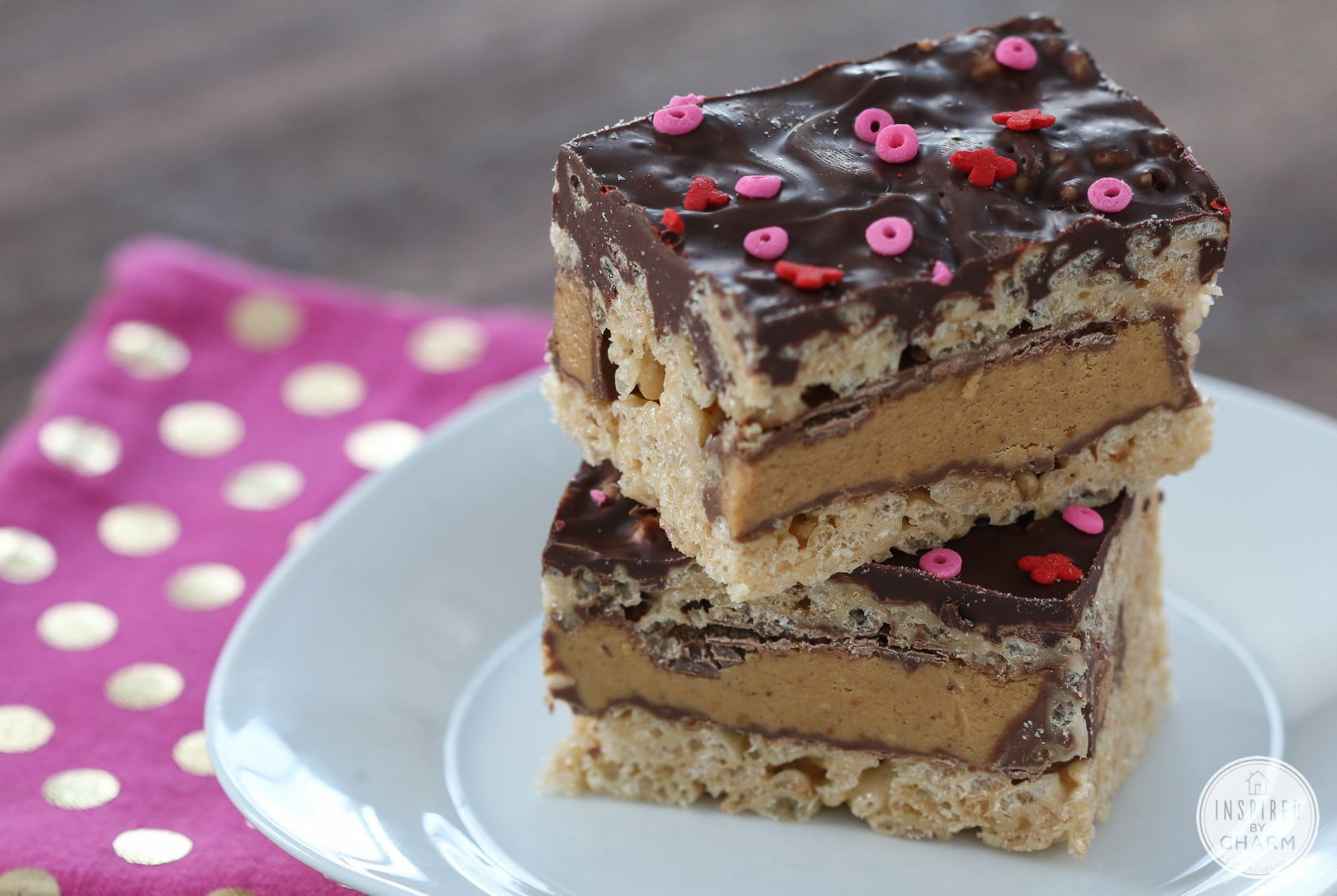 Peanut Butter Cup Rice Krispies Treats | Inspired by Charm