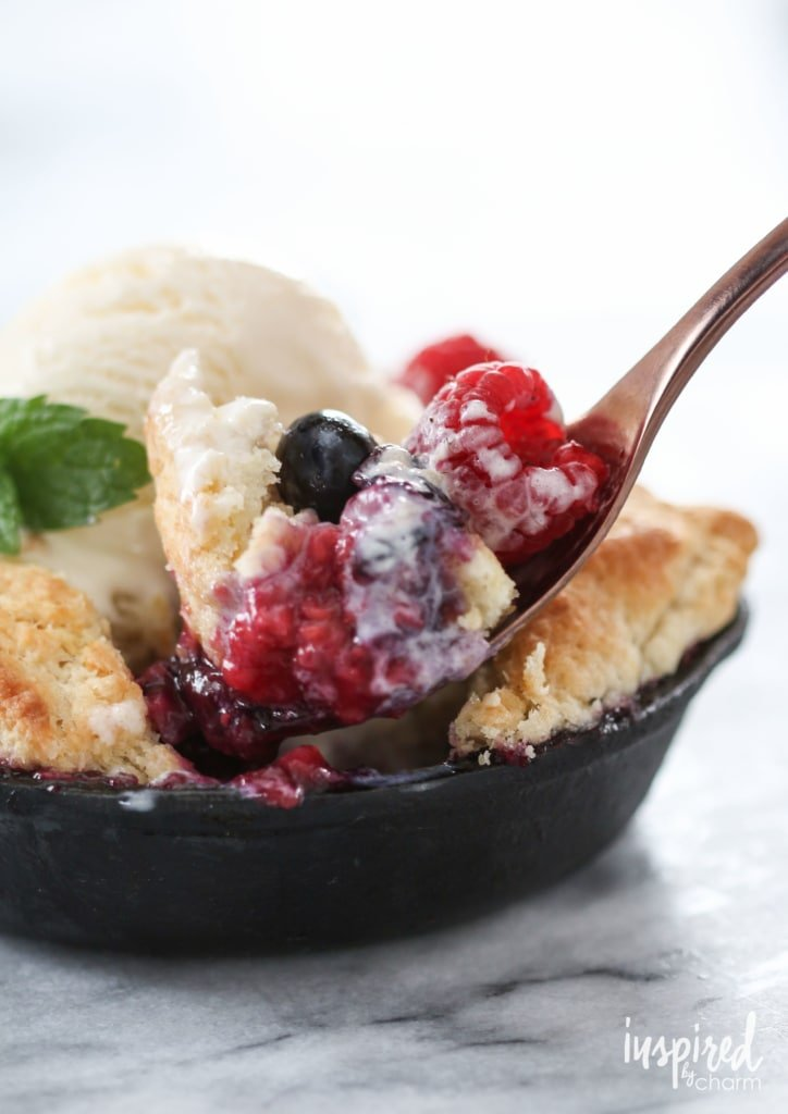 Mini Skillet Berry Cobblers | Inspired by Charm