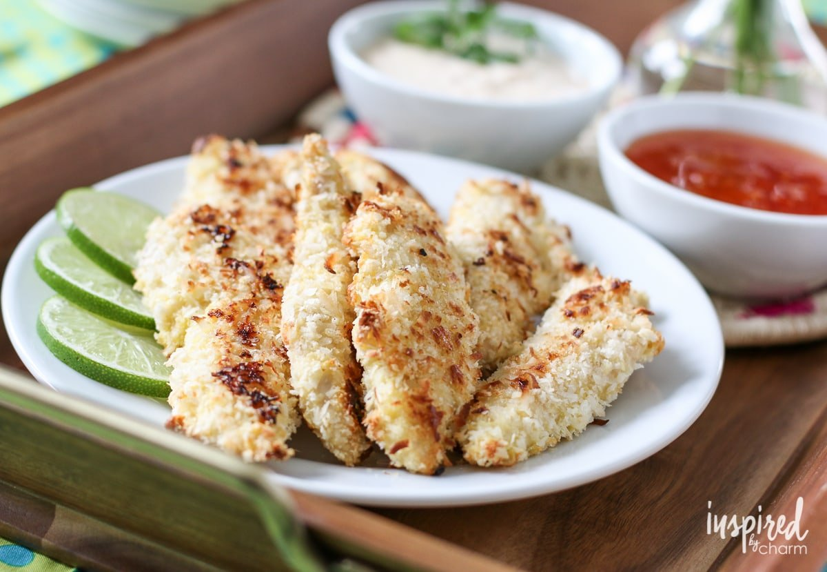 Baked Coconut Chicken Strips | Inspired by Charm