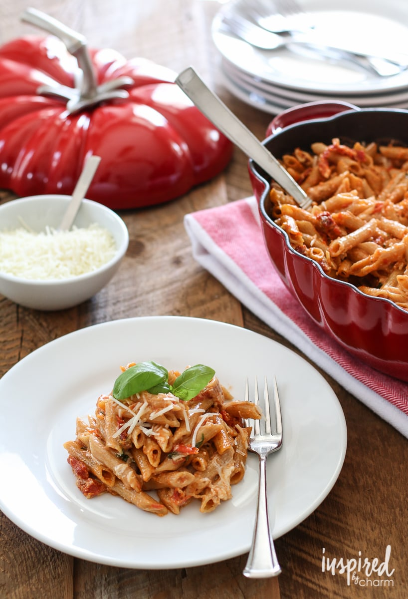 ... flavor into this cheesy pasta dish, I was lead to sun-dried tomatoes