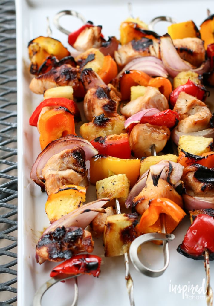 Grilled Pineapple Chicken Kabobs | Inspired by Charm