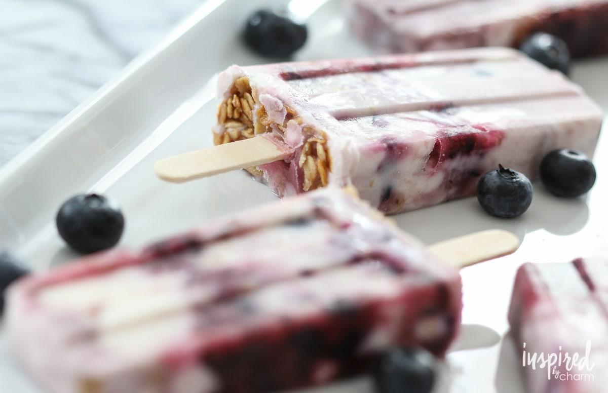Blueberry Yogurt Parfait Pops | Inspired by Charm