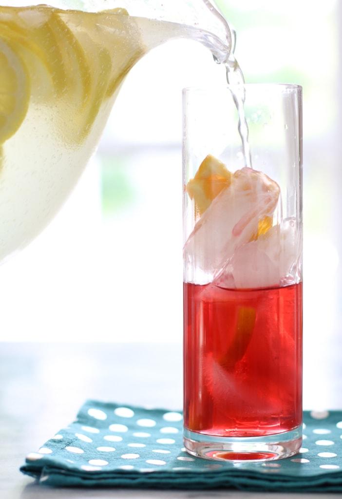Lemonade with hibiscus and orange
