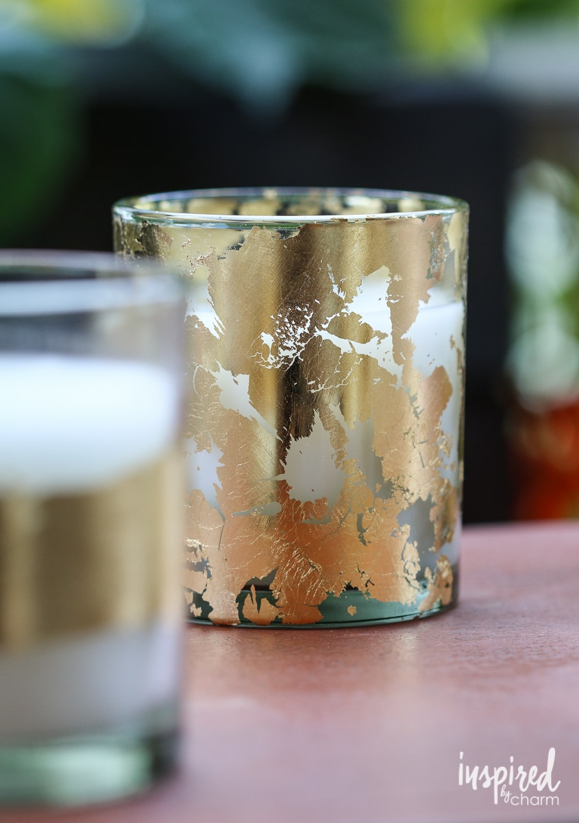 diy goldleaf citronella candles inspired by charm