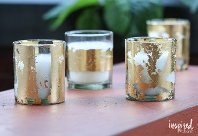 DIY Gold-Leaf Citronella Candles   Inspired by Charm