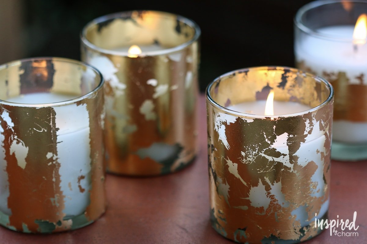Diy Gold Candle Holders Diy Gold Leafed Citronella Candles Inspired By Charm