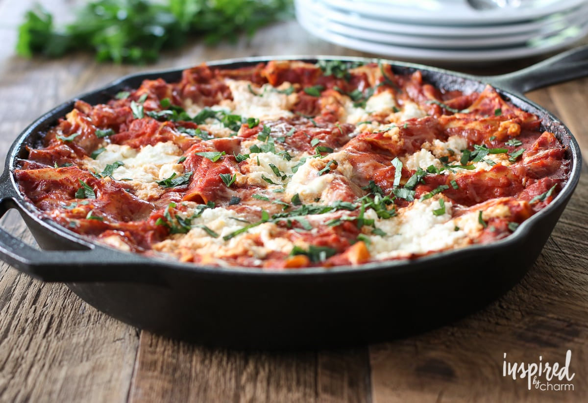Skillet Lasagna | Inspired by Charm