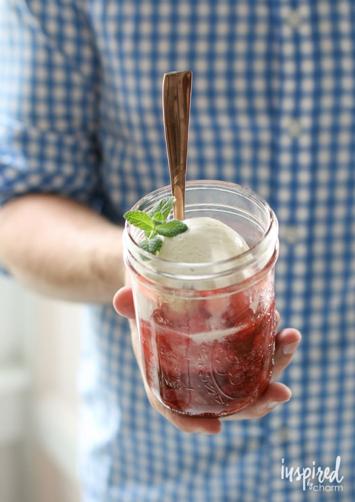 Strawberry Rhubarb Mason Jar Cobblers | Inspired by Charm