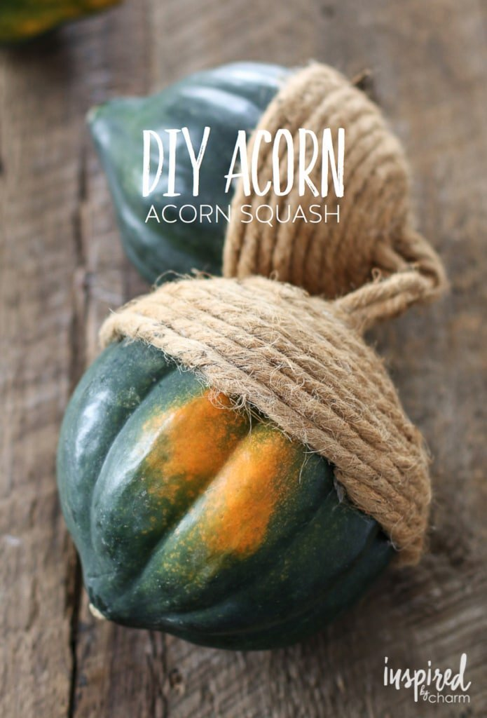 "These ""acorns"" made with acorn squash are a quick and easy DIY to help decorate your home for the fall. inspiredbycharm.com"