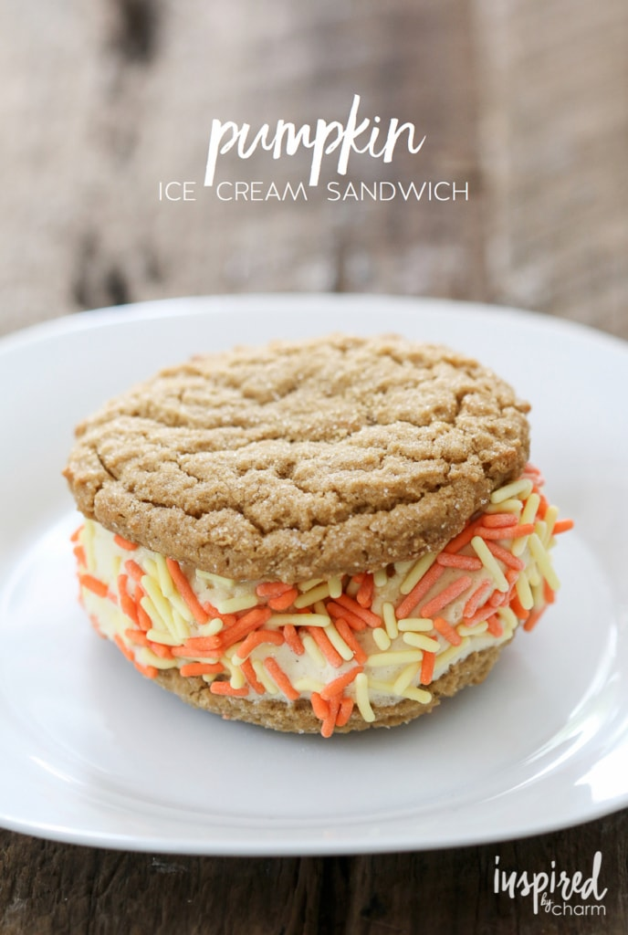 Pumpkin Ice Cream Sandwich | inspiredbycharm.com for Eighteen25