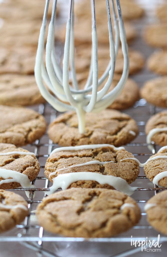 Gingersnaps with Apple Cider Glaze | inspiredbycharm.com #IBCfallcookieweek