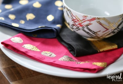 DIY Gold Foil Napkins | inspiredbycharm.com