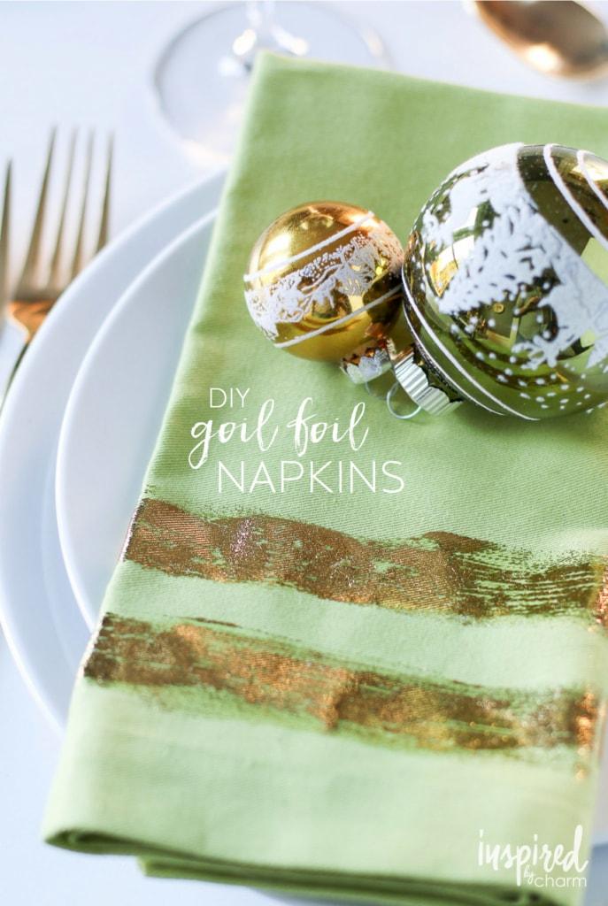 DIY Gold Foil Napkins | inspiredbycharm.com #IBCholiday