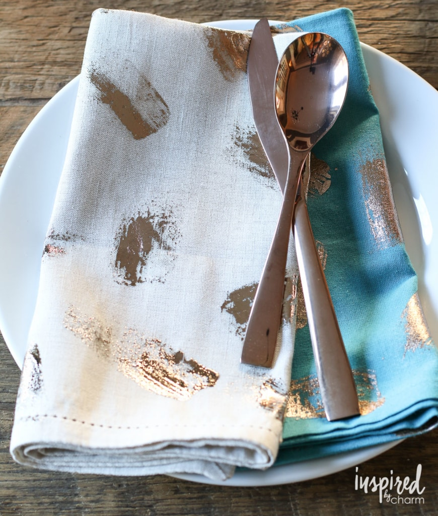 rose gold foil napkin diy