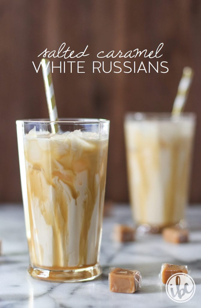 Salted Caramel White Russians - holiday christmas cocktail recipe