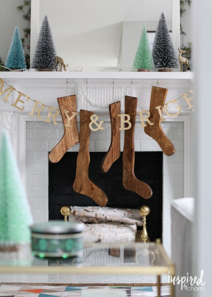 DIY Wood Stockings | inspiredbycharm.com #IBCholiday