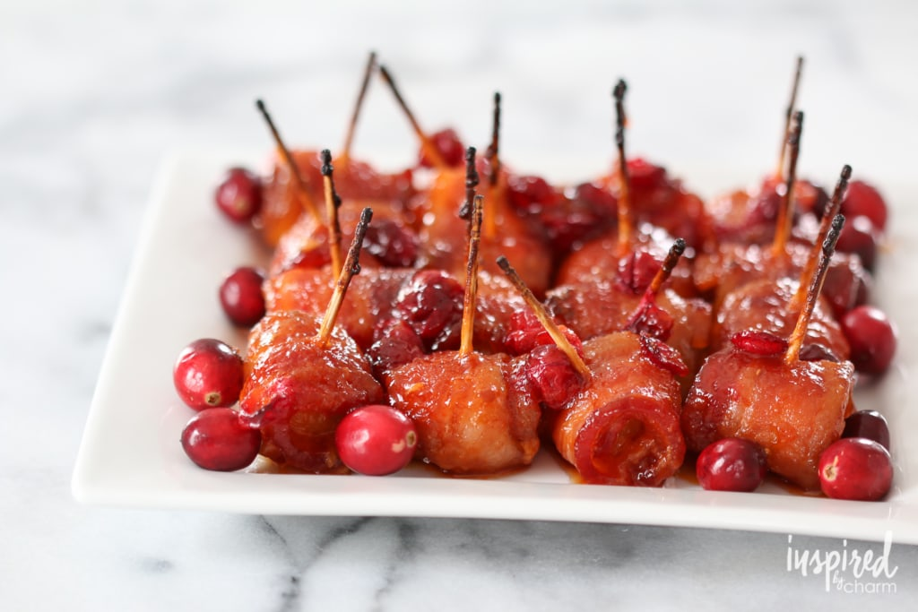 Bacon Wrapped Cranberry Water Chestnuts // Holiday Bacon-Inspired Appetizers | inspiredbycharm.com