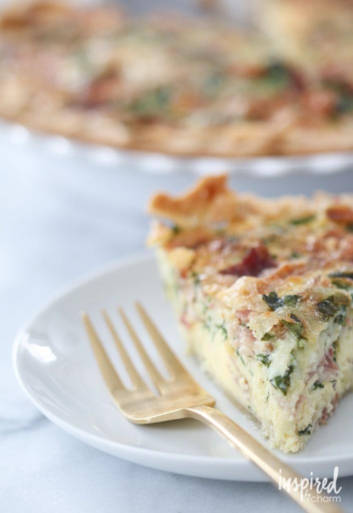 Spinach, Bacon, and Swiss Quiche | inspiredbycharm.com #IBCbreakfastweek