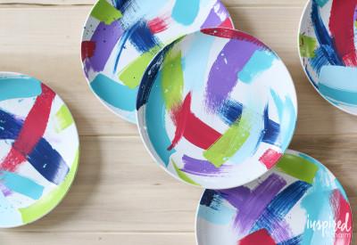 Brushstroke Painted Plates   inspiredbycharm.com