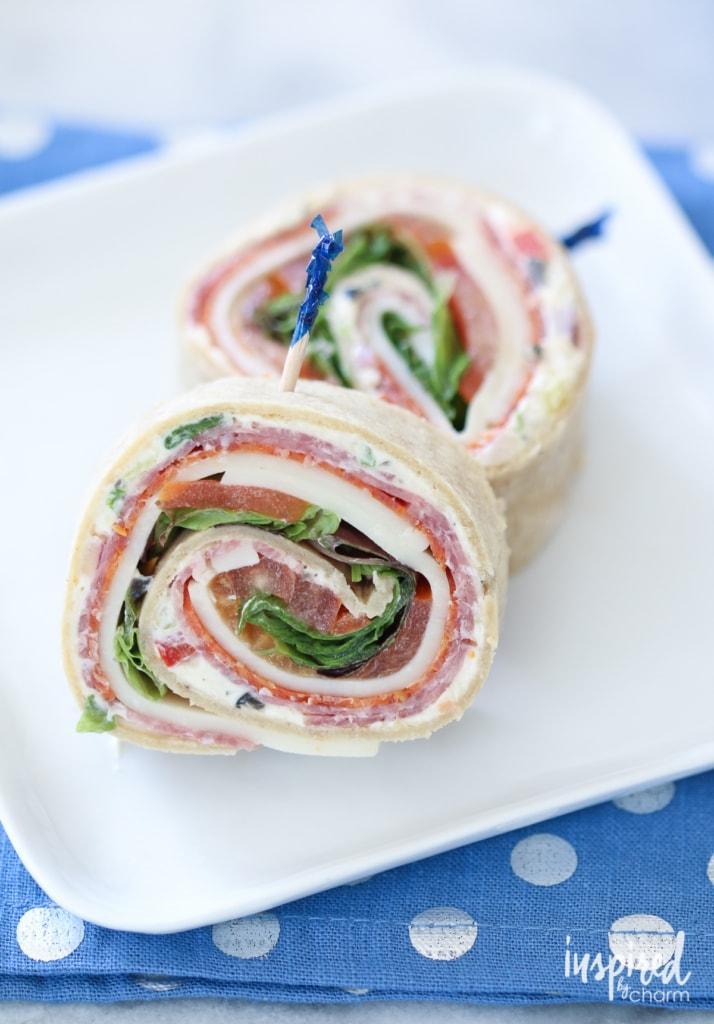 Italian Sub Sandwich Roll-ups | inspiredbycharm.com