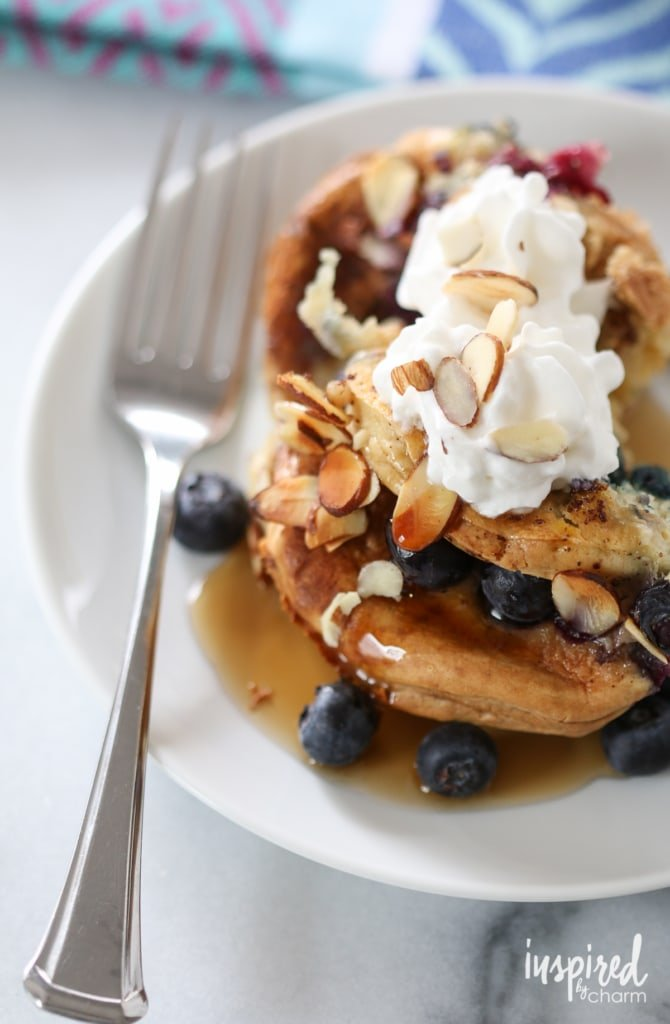 Blueberry Almond Pancake Pudding | inspiredbycharm.com