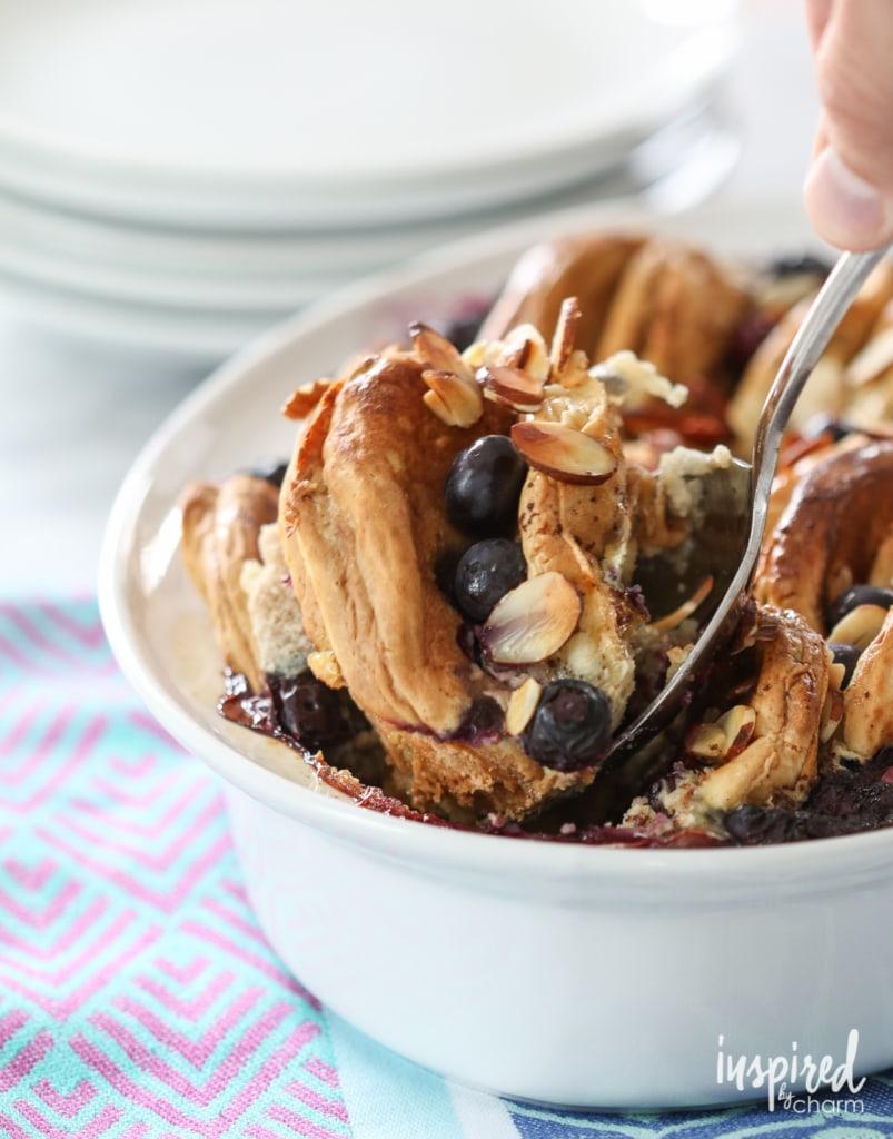 Blueberry Almond Pancake Pudding | inspiredbycharm.com