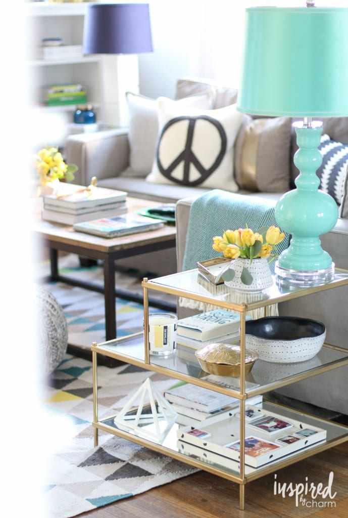 Spring Living Room | inspiredbycharm.com