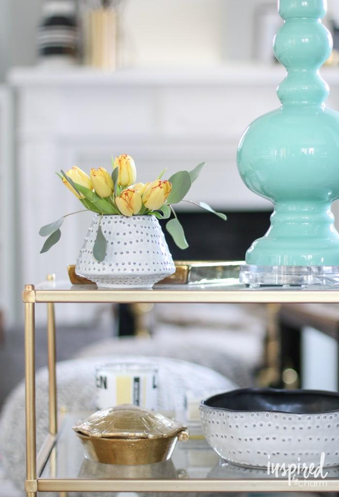 Spring Living Room | inspiredbycharm.com