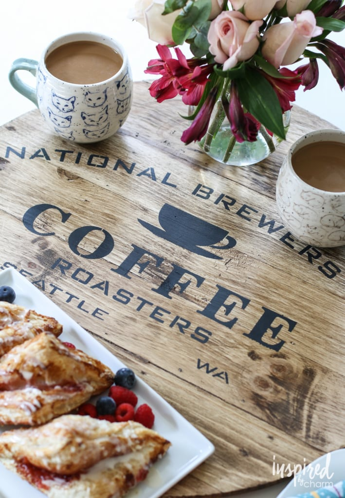 Learn how to make this adorable and function stenciled wooden tray! #tutorial #wooden #tray #coffee