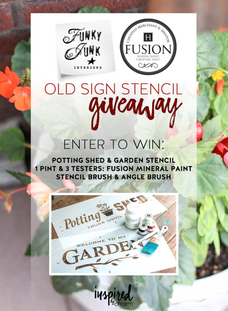 Funky Junk Old Sign Stencil Giveaway | inspiredbycharm.com